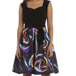 Black Jersey sweetheart Top,  Satin Print Skirt
